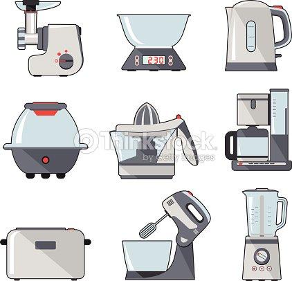 Juego de cocina aparatos dom sticos arte vectorial for Equipo mayor de cocina pdf