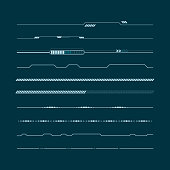 Set of hud lines infographic elements. Head-up display elements for the web and app. Futuristic user interface. Vector illustration