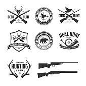 Set of hunting related labels badges emblems. Design elements collection for logos, posters, prints. Vector vintage illustration.