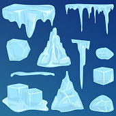 Set of ice caps seasonal style sharp frozen icon. Snowdrifts icicles and elements winter decor vector illustration. Transparent arctic snowy cold water decoration.