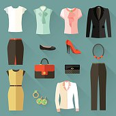 Set of icons clothing businesswoman . Office style.Vector flat illustration