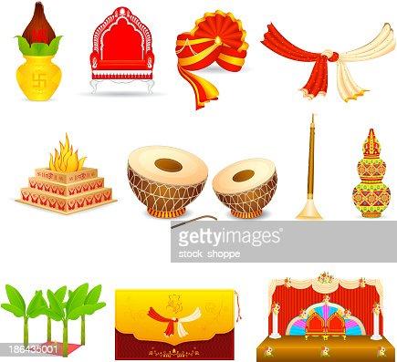 Set Of Icons Depicting An Indian Wedding Vector Art Thinkstock