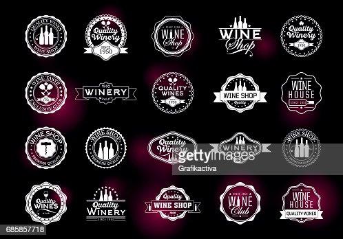 Satz von Symbolen für die Weinwirtschaft : Vektorgrafik