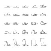 Set of icons of men's shoes. Vector line icons