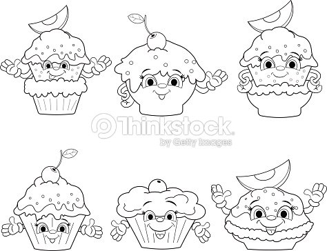 Set Of Icons Of Cartoon Funny Cakes Coloring Book Vector Art ...