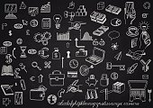 Set of hand drawn icons, on chalkboard, for creating business concepts and illustrating ideas, EPS 10 contains transparency.