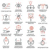 Vector set of 16 icons related to business management, strategy, career progress and business process. Mono line pictograms and infographics design elements - part 41