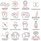 Vector set of 16 icons related to business management, strategy, career progress and business process. Mono line pictograms and infographics design elements - part 42