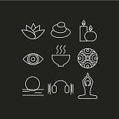 Set of icons relaxation, meditation, zen, rest. Symbols spa - massage, stones, candles, yoga, relax, art therapy. Vector illustration