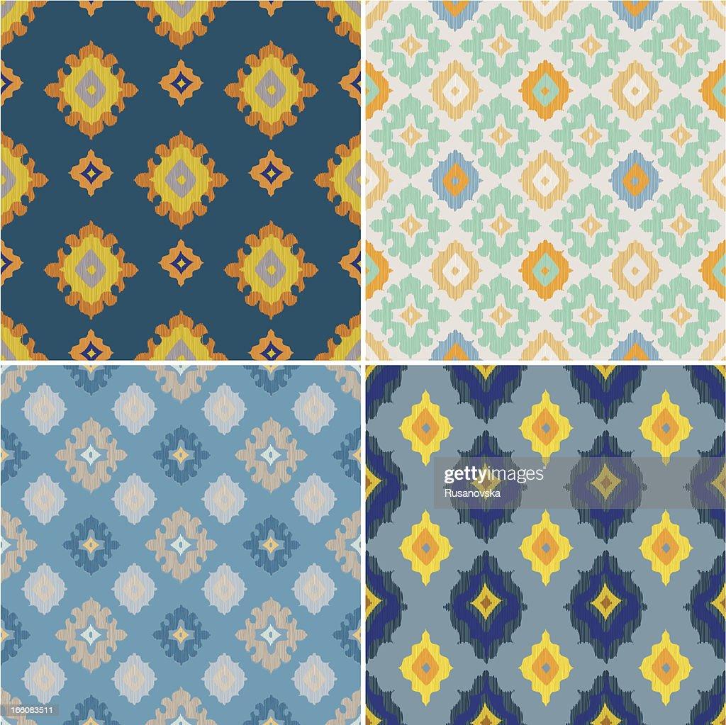 Set of Ikat Seamless Patterns : Vector Art