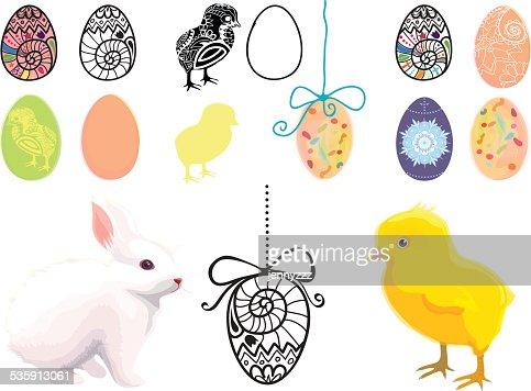 Conjunto de ilustraciones con temática de pascua : Arte vectorial
