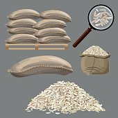 Set of vector illustrations with sacks of rice.