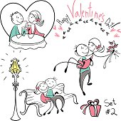 Set of  images of couples in the sketch style. Characters in different situations. sketch design character on Valentine day. Boyfriend holding on his arms, for your design. Vector