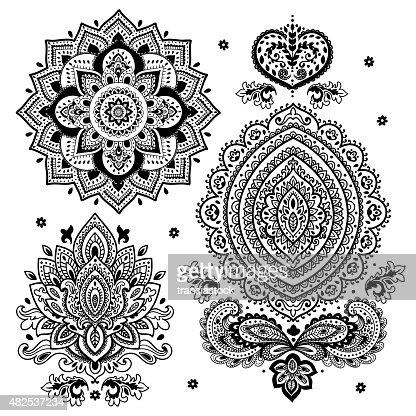 Set Of Indian Floral Ornaments Mandala Henna Vector Art Thinkstock