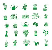 Big set of indoor plants, isolated vector icons