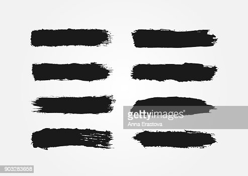 Set of ink strokes. Eight isolated black smears. Grunge. : stock vector