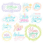 Set of Inspirational Spring romantic handwritten quotes