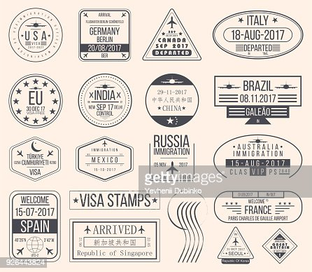 Set of international visa stamps. Vintage travel visa passport stamps : Vector Art