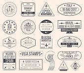 Set of international visa stamps. Vintage travel visa passport stamps. Vector