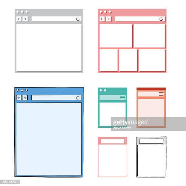 Set of Internet browser designs and mockups