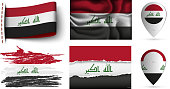 set of iraq flags collection isolated on white