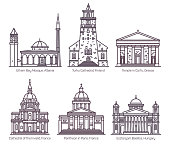 Set of isolated religion, sanctuary buildings of France and Greece, Albania and Hungary, Finland. Ethem Bey mosque, Turku and Invalid cathedral, Corfu temple, Paris Pantheon, Esztergom basilica