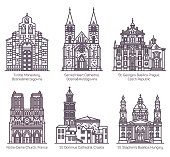 Set of isolated european cathedral and church in thin line. Tvrdos monastery, Sacred heart and St. Domnius, Notre-Dame, St. Stephen and George basilica. Czech, France, Croatia, Hungary architecture