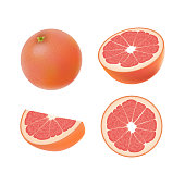 Set of isolated colored pink grapefruits, half, slice, circle and whole juicy fruit on white background. Realistic citrus collection