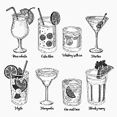Alcoholic drinks sketch set. Set of isolated colorful sketch cocktails.