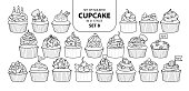 Set of isolated cupcake in 21 styles set 8. Cute hand drawn dessert in black outline and white plane on white background.