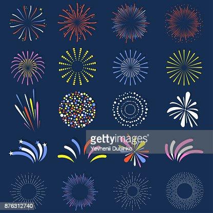 Ensemble de feux d'artifice isolés. Lumineux, boules de feu d'artifice fête colorée et monochrome : Clipart vectoriel