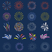 Set of isolated fireworks. Brightly, colorful and monochrome celebration firework balls. Vector