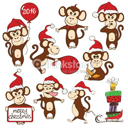 Set Of Isolated Funny Monkey Icons Vector Art | Thinkstock