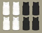Set of isolated sleeveless male sport shirts or men top apparel. Mockup of guy t-shirt sportswear. Front and back side of cloth. Realistic and volumetric undershirt. Menswear and fashion theme