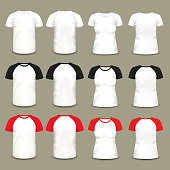 Set of isolated raglan t-shirts and baseball shirts for men and women. May be used for fashion and clothing, sportswear theme