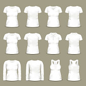 Set of isolated white woman t-shirts and tunic. Short and long sleeve u-neck dress for female. Can be used for clothing and fashion theme