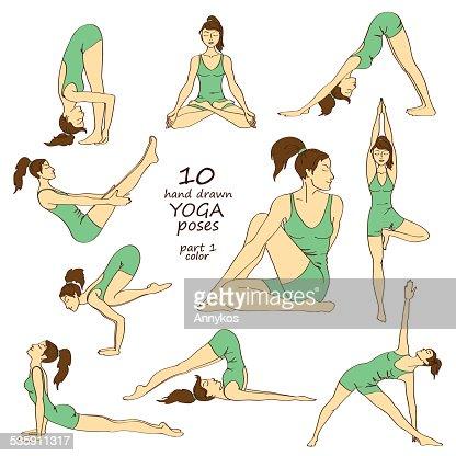 Juego aislado de yoga plantea : Arte vectorial