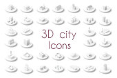 Set of isometric city icons. Three-dimensional signs and symbols on urban theme with buildings, houses and structure for real estate agencies and sites