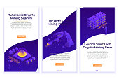 Set of isometric crypto mining concept banners. Concept of cryptocurrency mining. Vector Illustration with robotic organism, businessman and heavy vehicles.