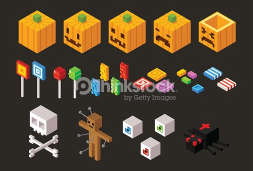 set of isometric halloween items vector art - Halloween Items