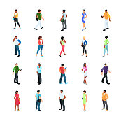 Set of isometric people with different skin color isolated on white background. 3d men and women view front and back. Modern young people. Vector illustration.