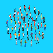 Set of isometric people with different skin color. Crowd of people. 3d men and women view front and back. Modern young people. Vector illustration.