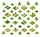 Set of 3D isometric urban parks. City natural ecological landscapes of town infrastructure. Trees lawns garden paths and benches the dimensional kit of items for construction of conceptual project des