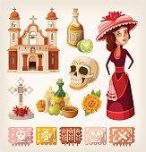 Set of items for day of the dead and calavera de la Catrina