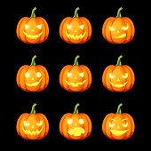 Vector set of nine jack-o'-lanterns (Halloween pumpkins) isolated on a black background.