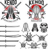 Set of japanese fencing martial art emblems. Kendo swords, protective helmets. Samurai helmets and swords. Design elements for label, emblem, sign. Vector illustration