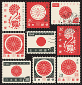 Set of vector postage stamps on the theme of Japanese culture with chrysanthemum and japanese flag in retro style. Hieroglyph Japan Post, Happiness