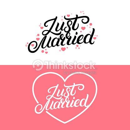 Satz Von Just Heiratete Hand Schriftzug Zitat Mit Herzen Hintergrund