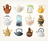 Set of different kinds of tea kettles from all over the world. Vector illustrations for your designs.
