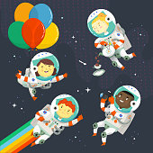 Set of kids in space suit floating in the sky near stars having fun at a cosmic birthday party. Vector characters for designing greeting cards.